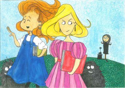 16. Clara margina a su amiga. Ilustración La nuez mágica. Pax Dettoni2